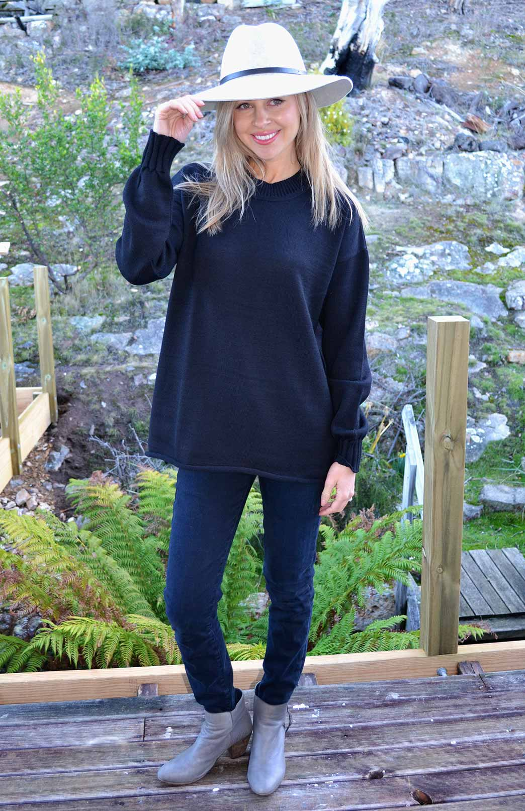 Sloppy Joe Crew Neck Jumper - Women's Black Chunky Knit Merino Wool Sloppy Joe Crew Neck Jumper with side splits - Smitten Merino Tasmania Australia