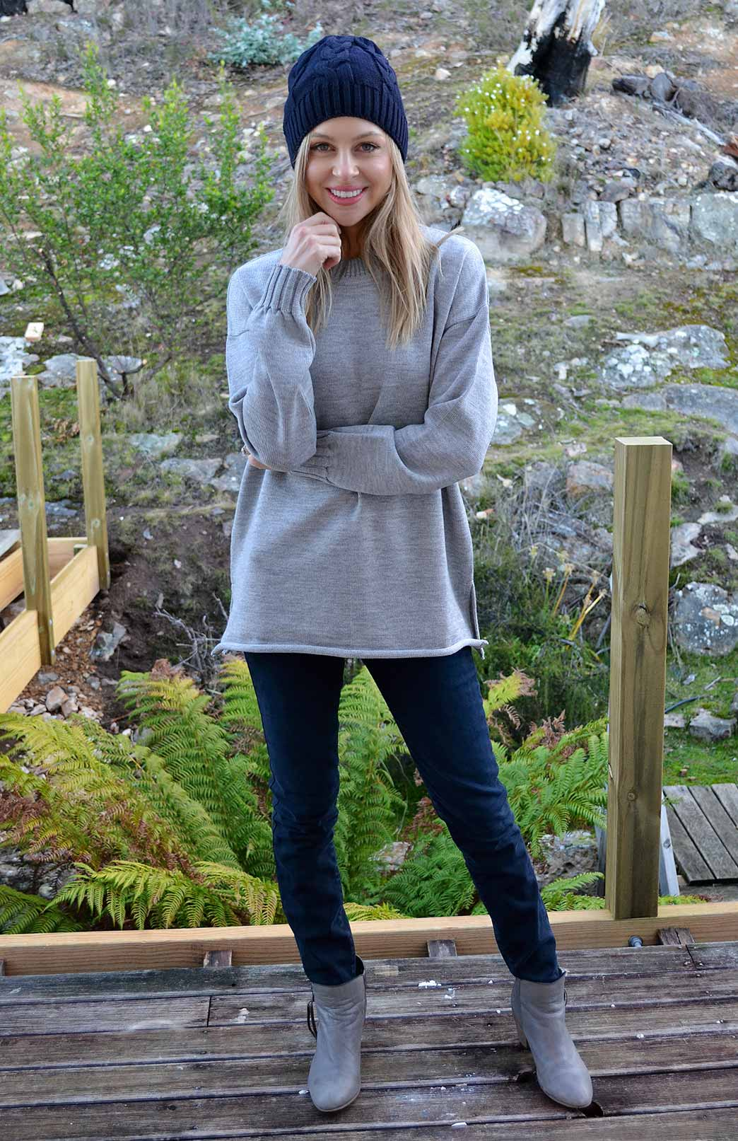 Sloppy Joe Crew Neck Jumper - Women's Pewter Grey Chunky Knit Merino Wool Sloppy Joe Crew Neck Jumper with side splits - Smitten Merino Tasmania Australia