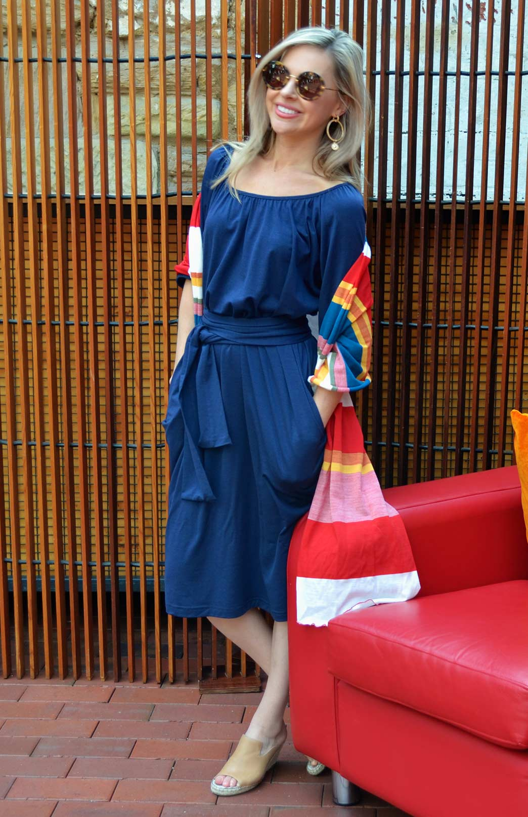 Gabbi Smock Dress - Women's Blue Smock Dress with Waist Tie, Loose Sleeves and Wide Neck - Smitten Merino Tasmania Australia