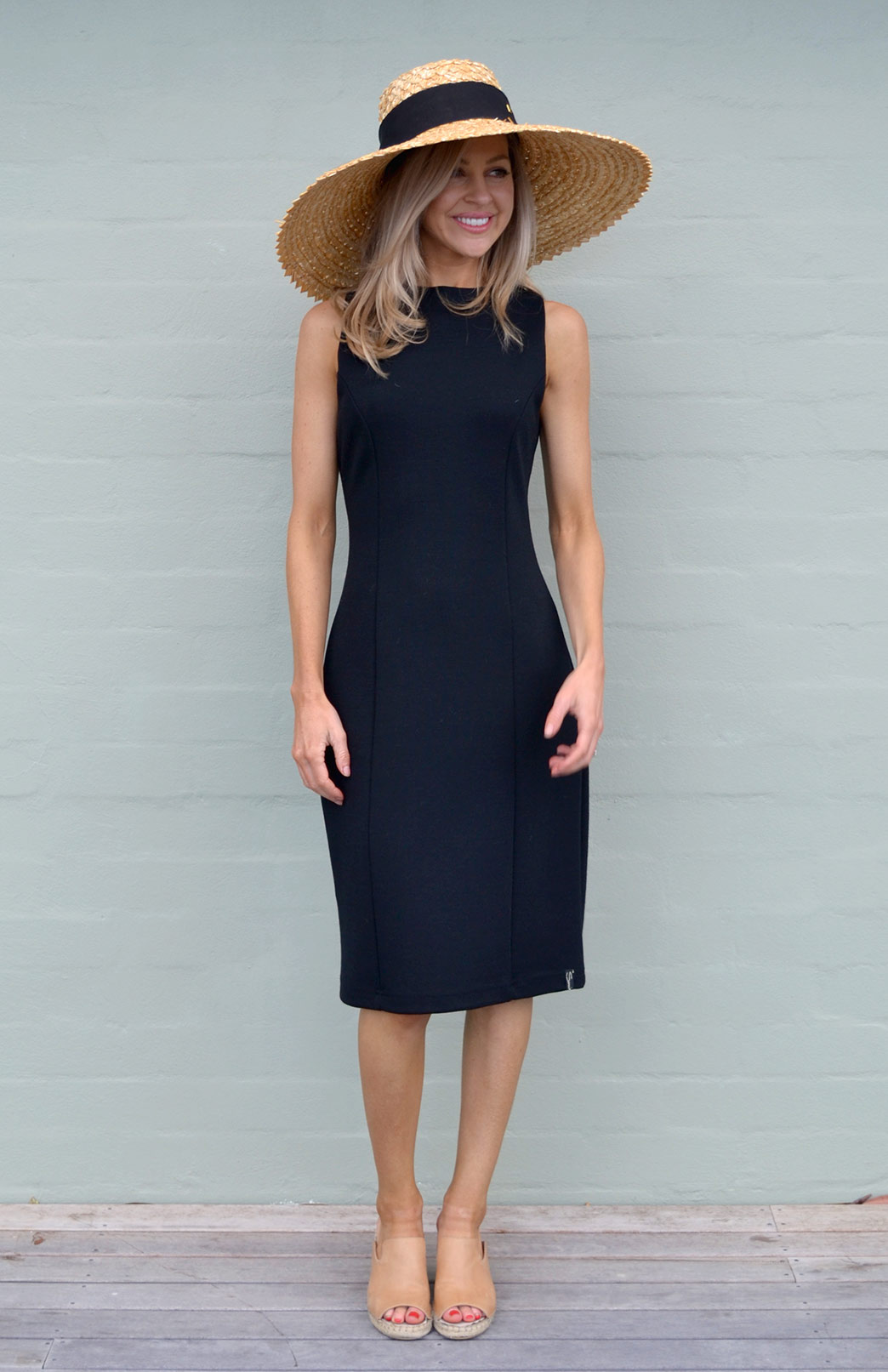 Missi Dress - Women's Black Merino Wool Ponte Dress with Full Back Zip and High Neckline - Smitten Merino Tasmania Australia