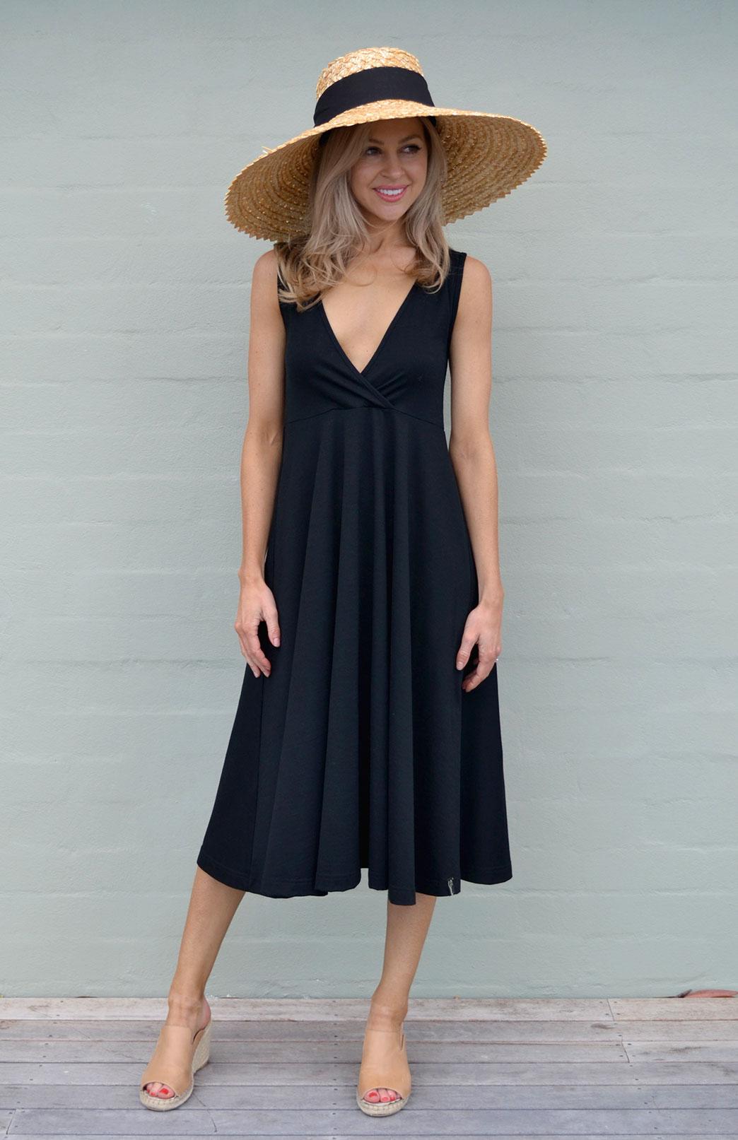 Caitlin Dress - Women's Black Sleeveless Woollen Maternity Style Dress with Full A-Line Skirt. - Smitten Merino Tasmania Australia