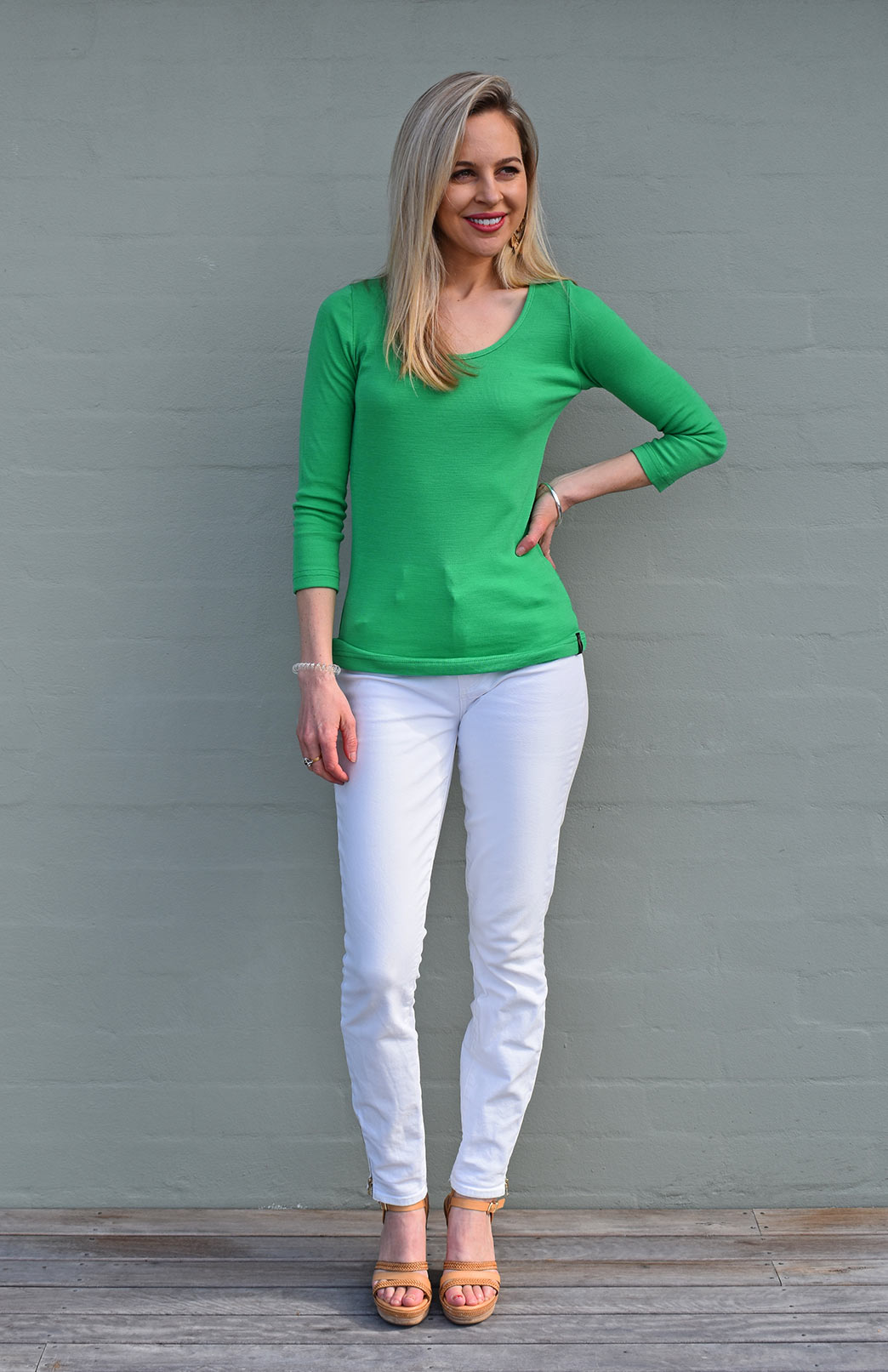 Sienna Top - Merino Wool - Women's Kelly Green Superfine Merino Wool Three Quarter Sleeve Scoop Neck Top - Smitten Merino Tasmania Australia