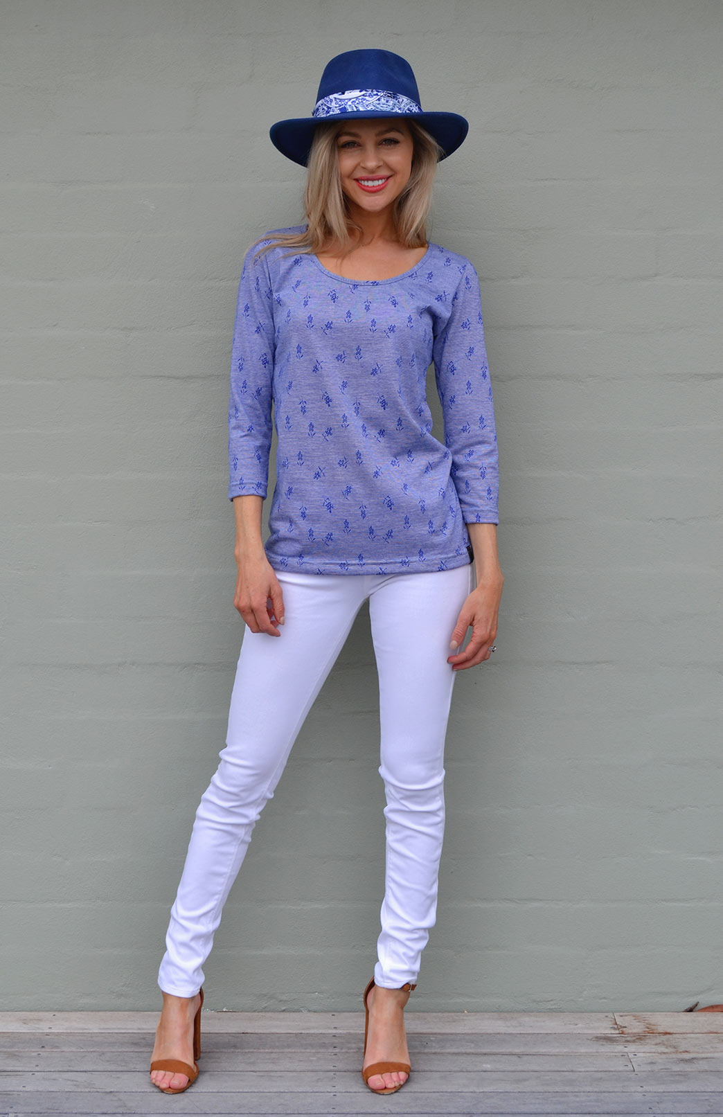 Sienna Top - Women's Blue Pattern Merino Cotton Blend 3/4 Sleeved Scoop Neck Top with Fitted Body - Smitten Merino Tasmania Australia