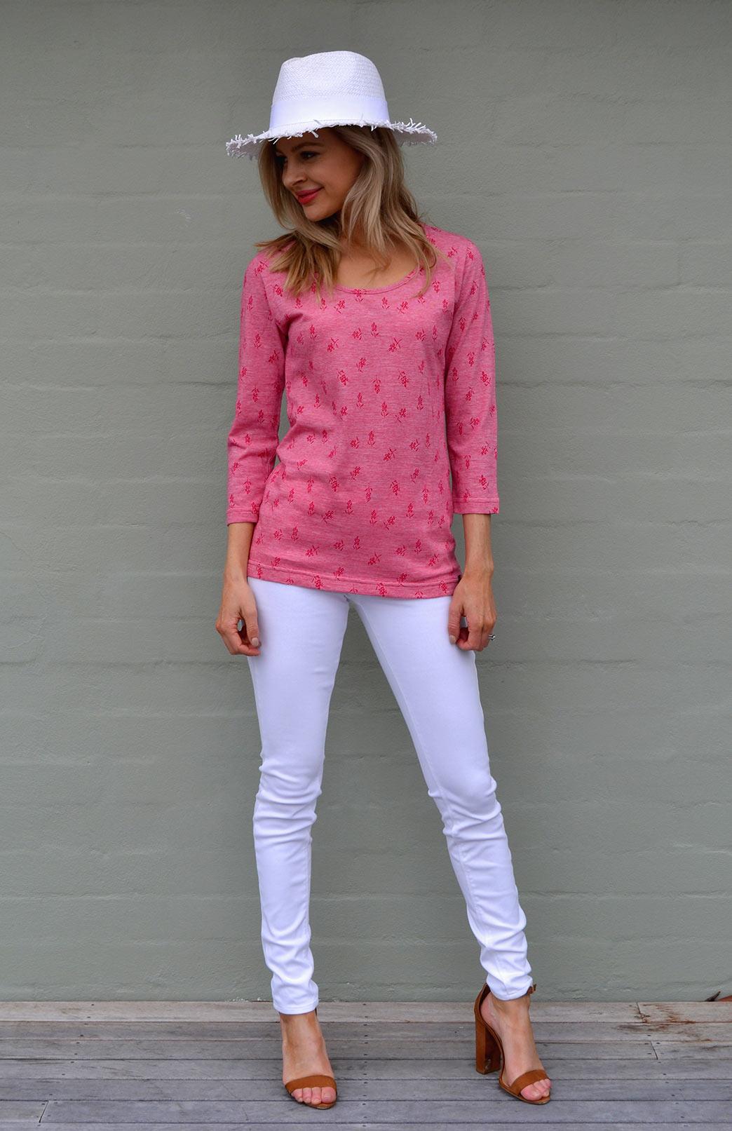 Sienna Top - Women's Red Pattern Merino Cotton Blend 3/4 Sleeved Scoop Neck Top with Fitted Body - Smitten Merino Tasmania Australia