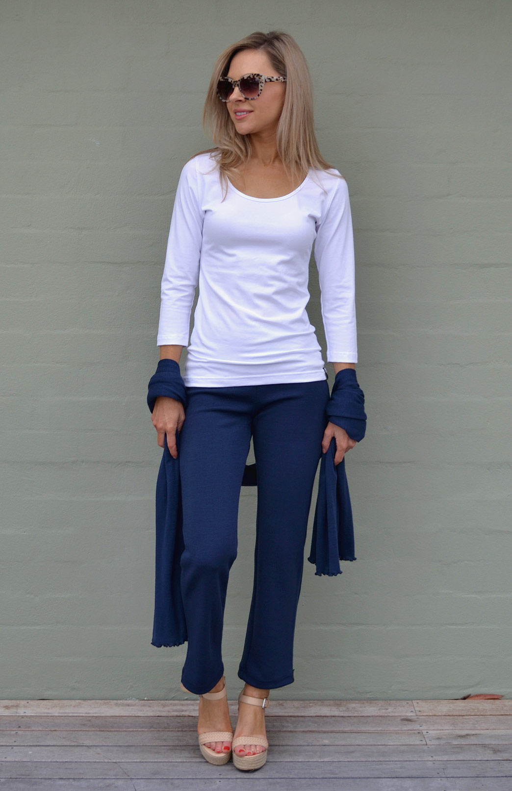 Sienna Top - Women's White Organic Cotton 3/4 Sleeved Scoop Neck Top with Fitted Body - Smitten Merino Tasmania Australia