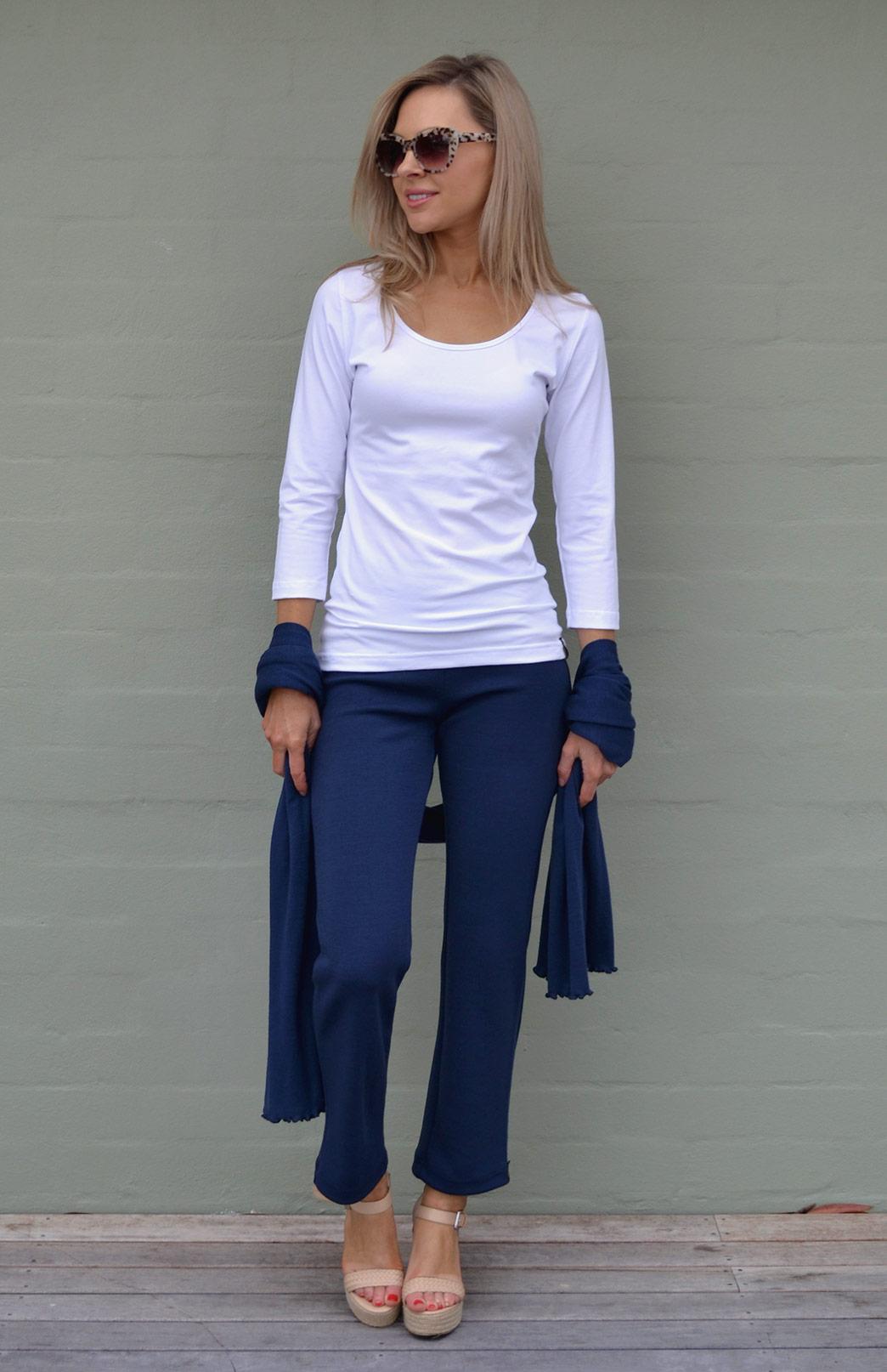 Sienna Top - Women's White Organic Cotton 3/4 Sleeved Scoop Neck Top with Fitted Body - Smitten Merino Tasmania Australia