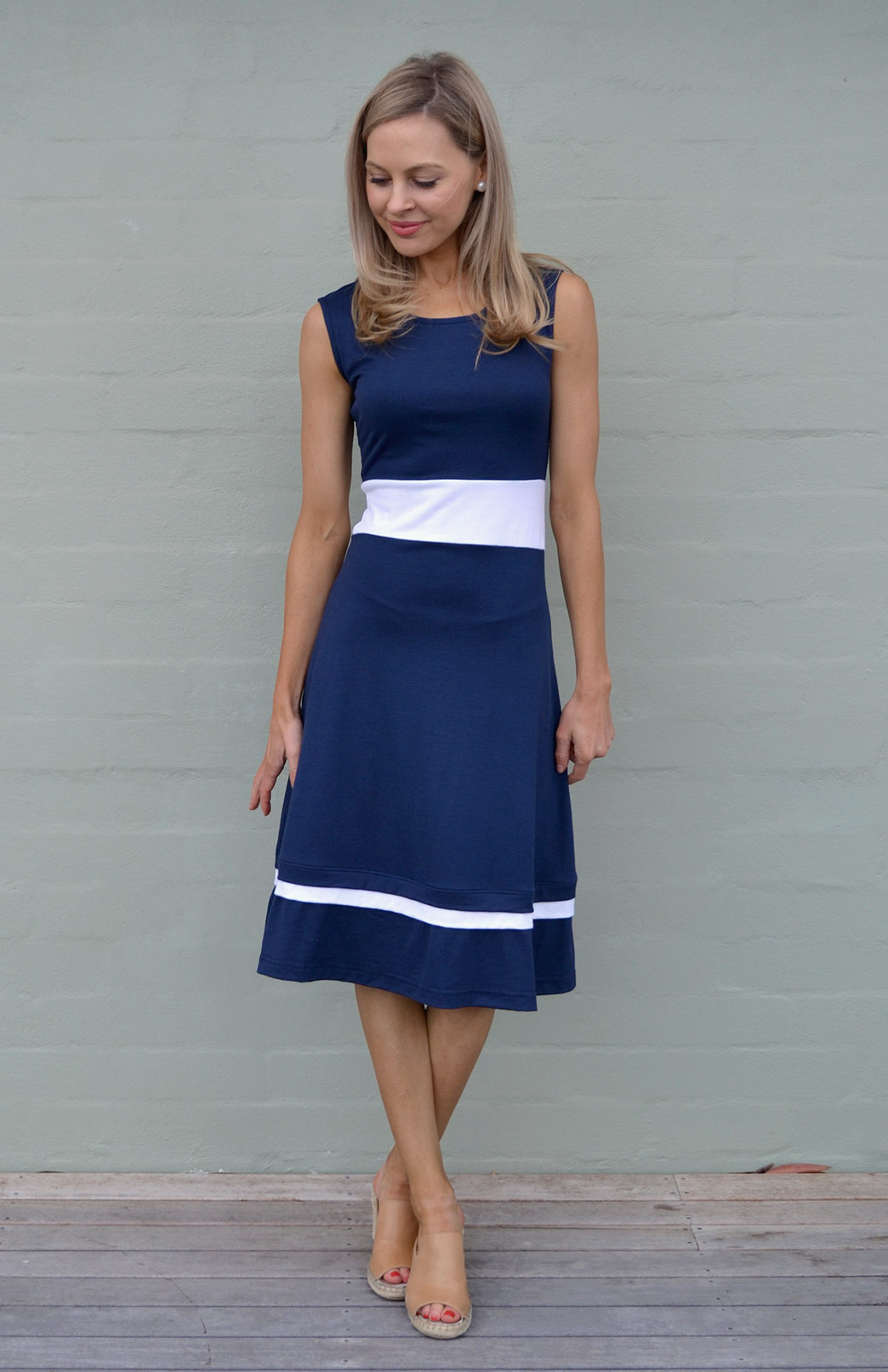 Indiana Dress - Women's Sleeveless Summer Blue Wool Dress with Cream Detailing and high neckline - Smitten Merino Tasmania Australia
