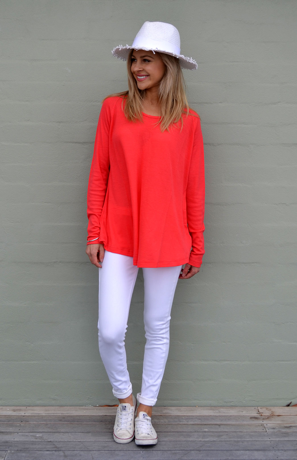 Rana Top - Women's Coral Pure Merino Wool Top with Long Sleeves, Scooped Neckline and Curved Hem - Smitten Merino Tasmania Australia