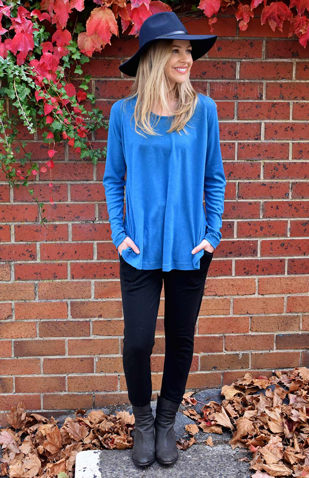 Rana Top - Women's Teal Pure Merino Wool Top with Long Sleeves, Scooped Neckline and Curved Hem - Smitten Merino Tasmania Australia