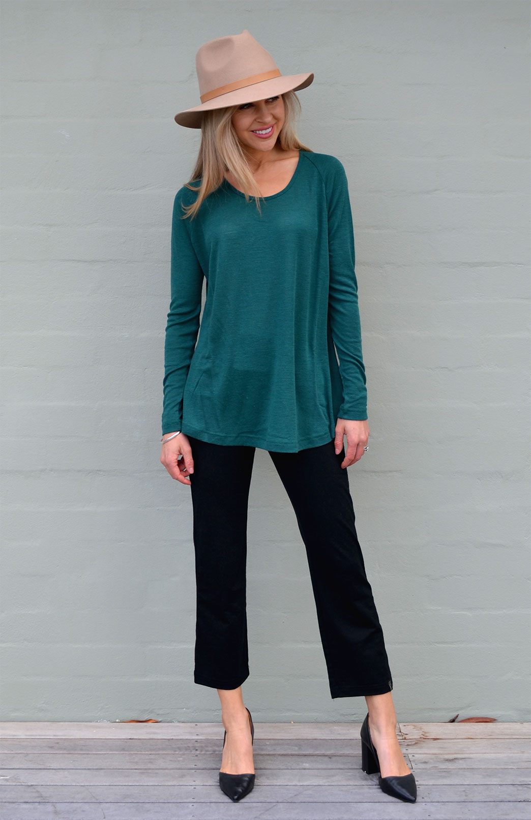 Rana Top - Women's Emerald Green Pure Merino Wool Top with Long Sleeves, Scooped Neckline and Curved Hem - Smitten Merino Tasmania Australia