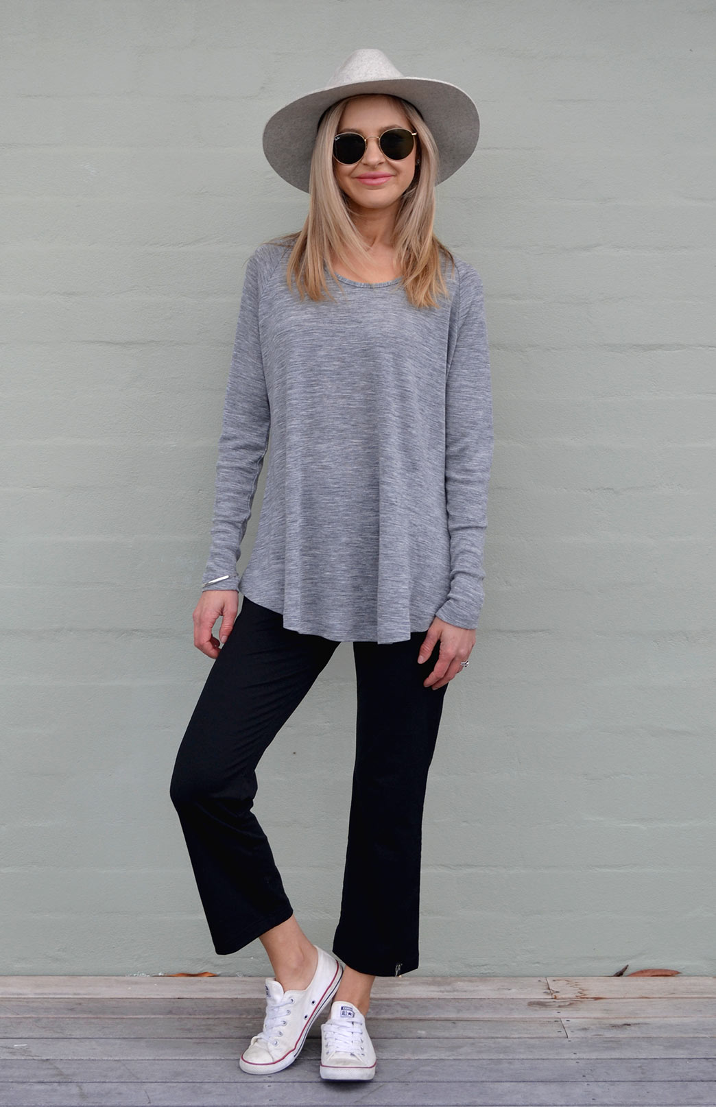 Rana Top - Women's Soft Grey Pure Merino Wool Top with Long Sleeves, Scooped Neckline and Curved Hem - Smitten Merino Tasmania Australia