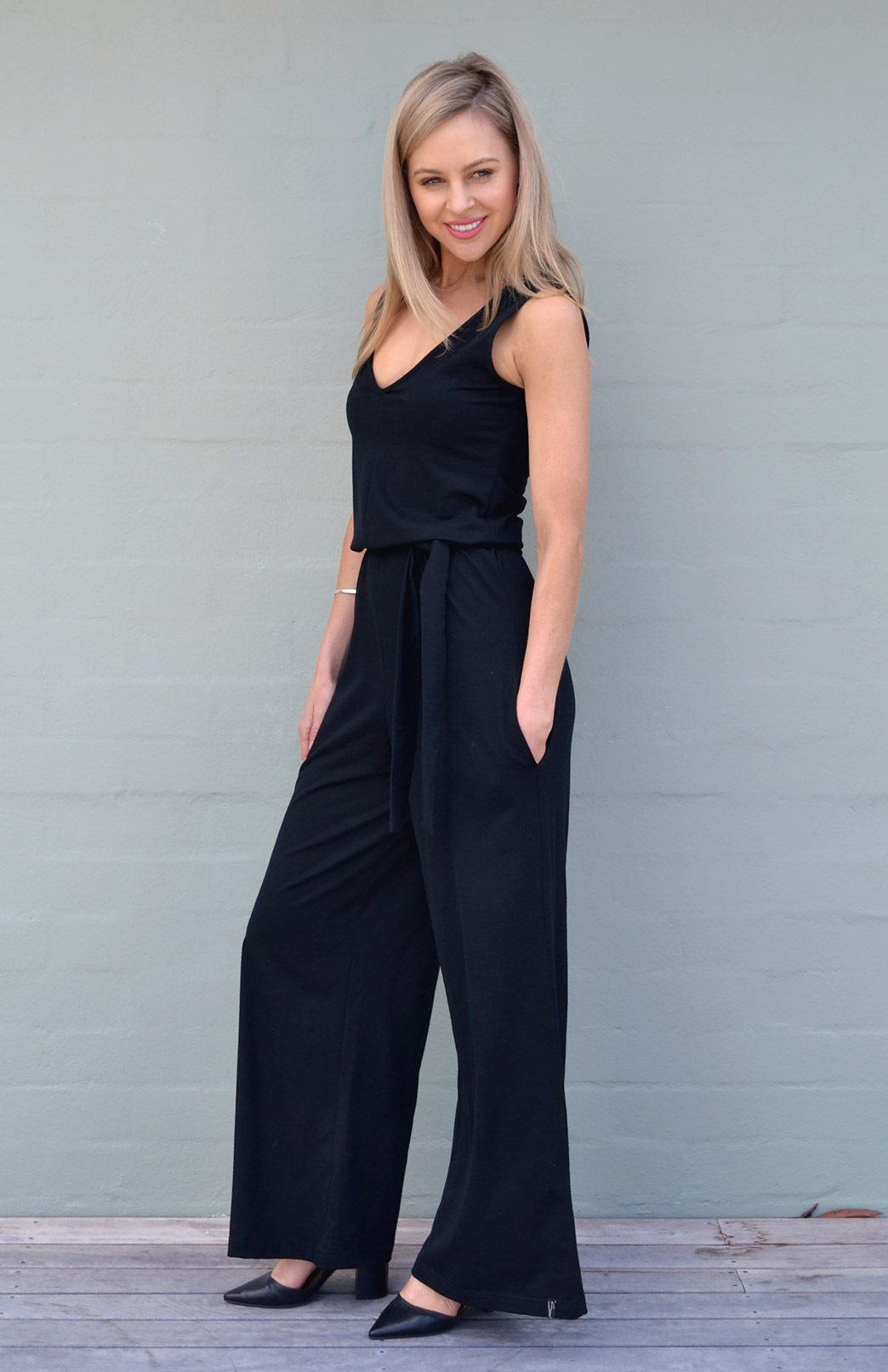 Victoria Jumpsuit - Women's Black Merino Wool Jumpsuit with V-Neck Line, Wide Legs and Waist Tie - Smitten Merino Tasmania Australia