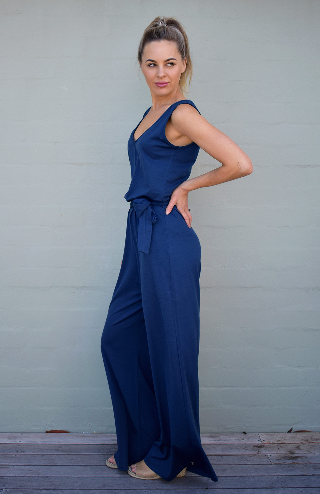 Victoria Jumpsuit - Women's Indigo Blue Merino Wool Jumpsuit with V-Neck Line, Wide Legs and Waist Tie - Smitten Merino Tasmania Australia
