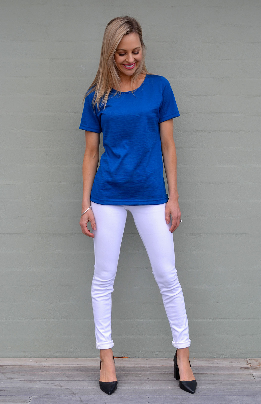 Rubie Top - Women's Pure Merino Wool Royal Blue Short Sleeved Round Neck Top - Smitten Merino Tasmania Australia
