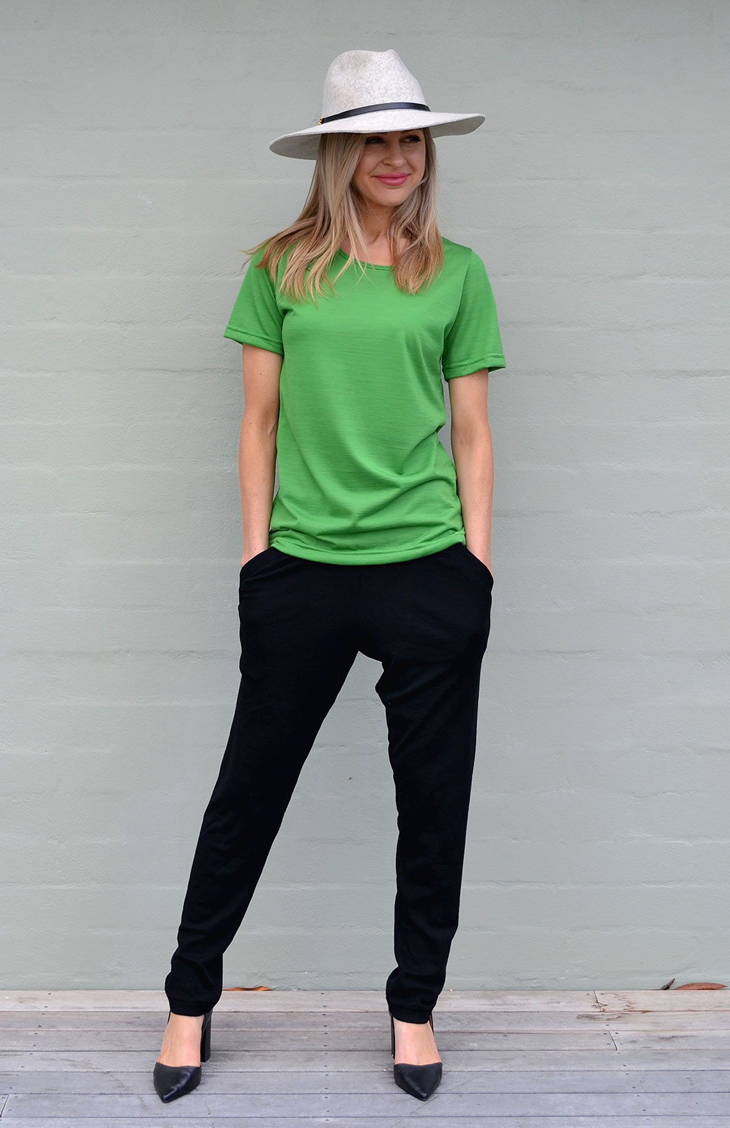Rubie Top - Women's Pure Merino Wool Apple Green Short Sleeved Round Neck Top - Smitten Merino Tasmania Australia