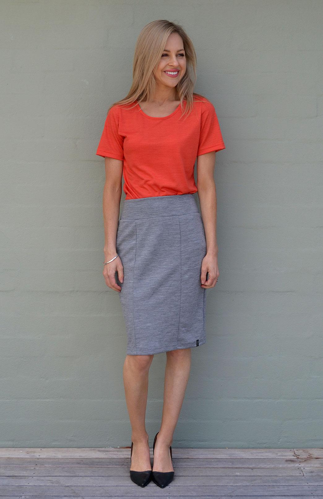 Rubie Top - Women's Pure Merino Wool Paprika Orange Short Sleeved Round Neck Top - Smitten Merino Tasmania Australia