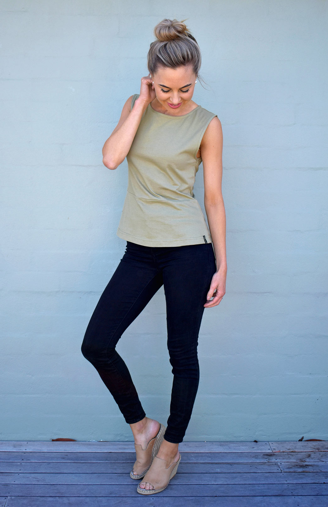 Pippa Top - Women's Organic Cotton Khaki Green Sleeveless Peplum Top with high neckline and wide straps - Smitten Merino Tasmania Australia