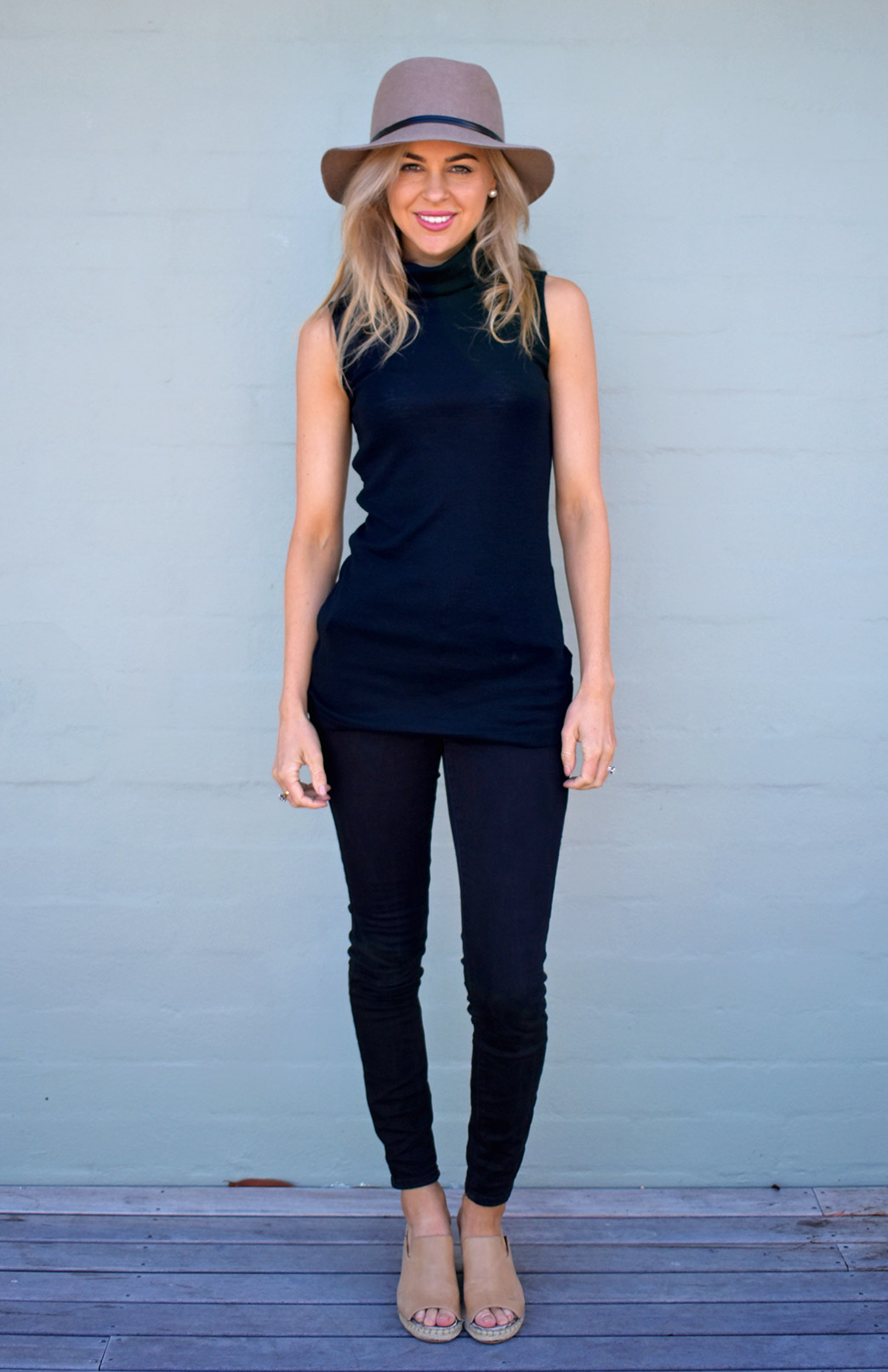 Estelle Top - Women's Merino Wool Black Sleeveless Polo Neck Top - Smitten Merino Tasmania Australia