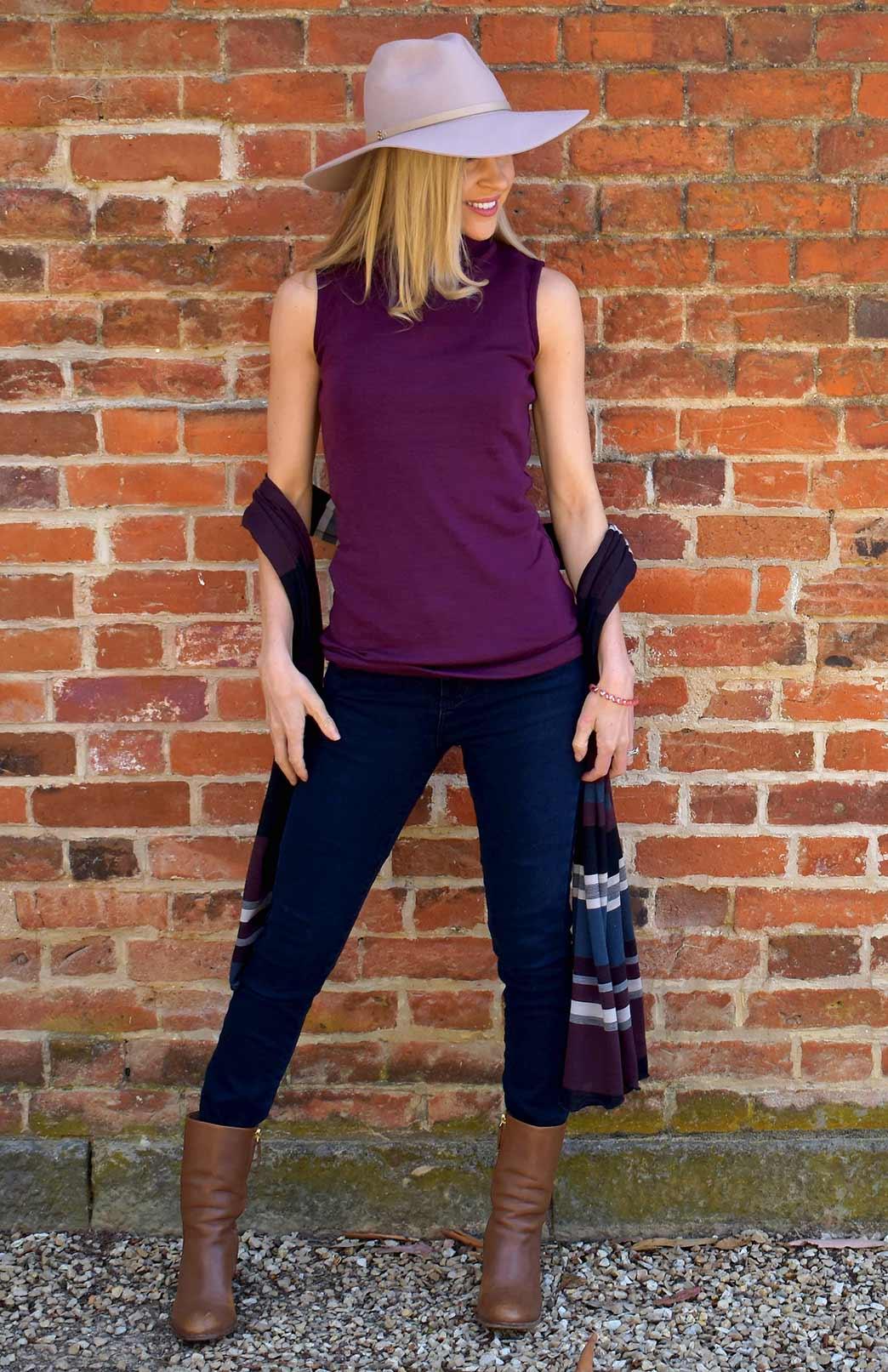 Estelle Top - Women's Merino Wool Aubergine Purple Sleeveless Polo Neck Top - Smitten Merino Tasmania Australia