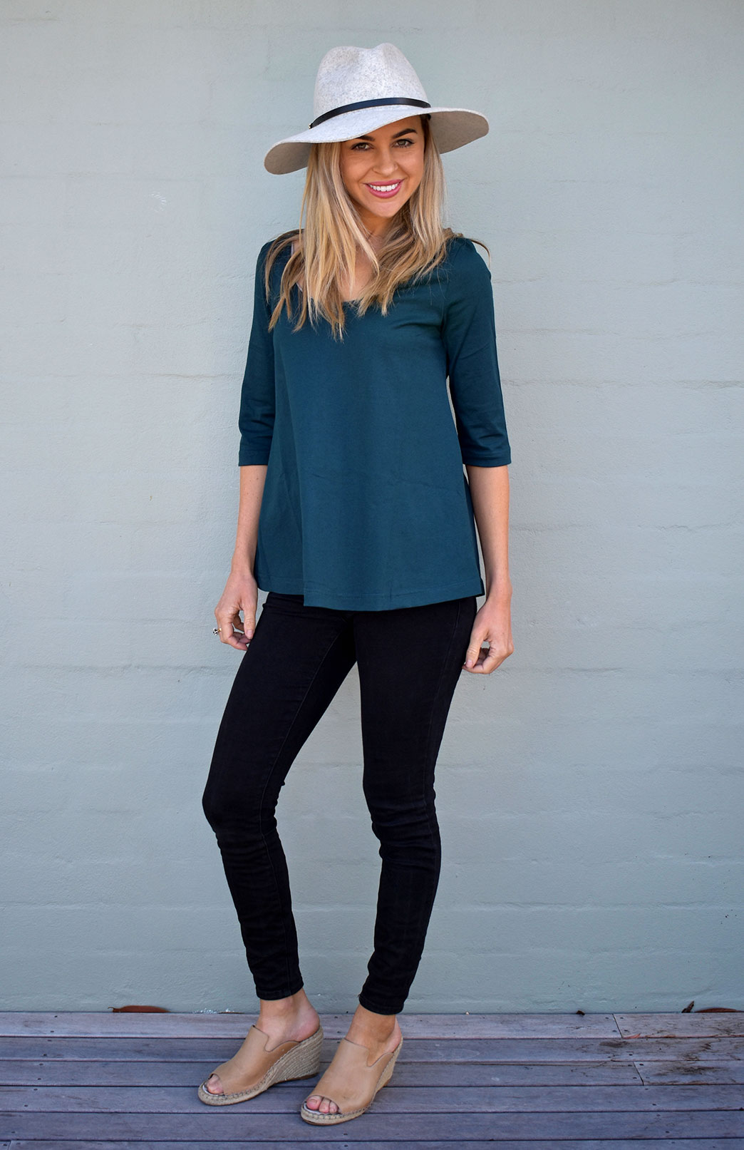 Rennie Top - Organic Cotton - Women's Organic Cotton Deep Sea Green 3/4 Sleeved Swing Top with Scooped Neckline - Smitten Merino Tasmania Australia