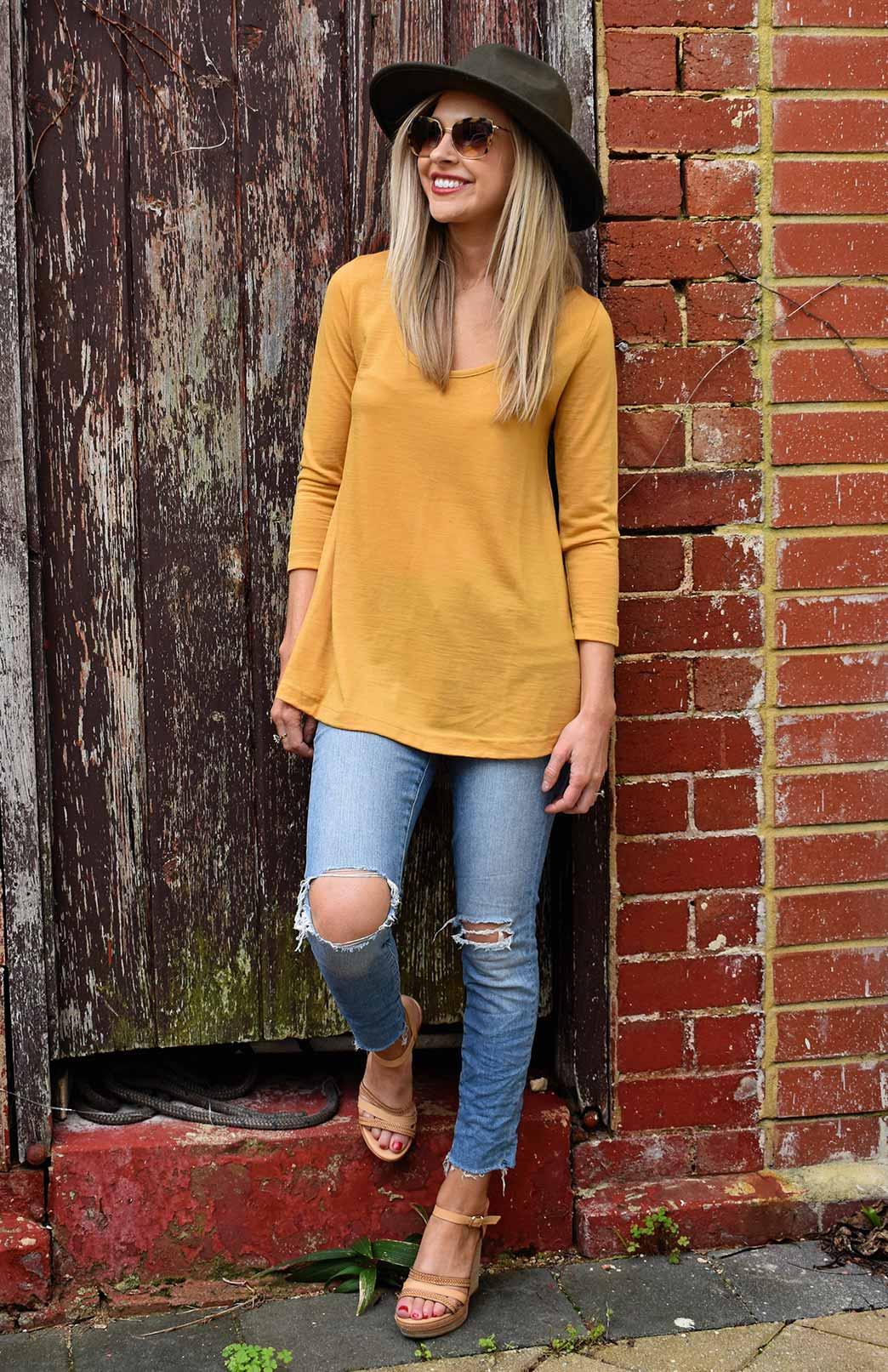 Rennie Top - Women's Merino Wool Mustard Yellow Sleeved Swing Top with Scooped Neckline - Smitten Merino Tasmania Australia