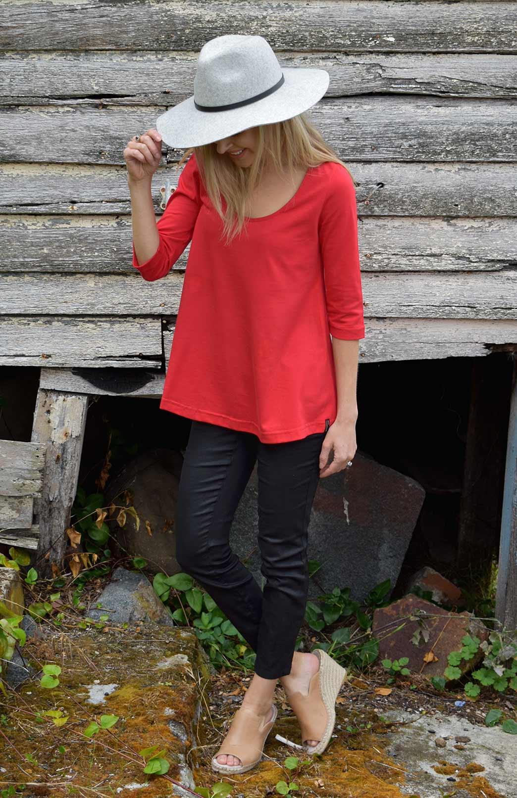 Rennie Top - Organic Cotton - Women's Organic Cotton Vermilion Red 3/4 Sleeved Swing Top with Scooped Neckline - Smitten Merino Tasmania Australia