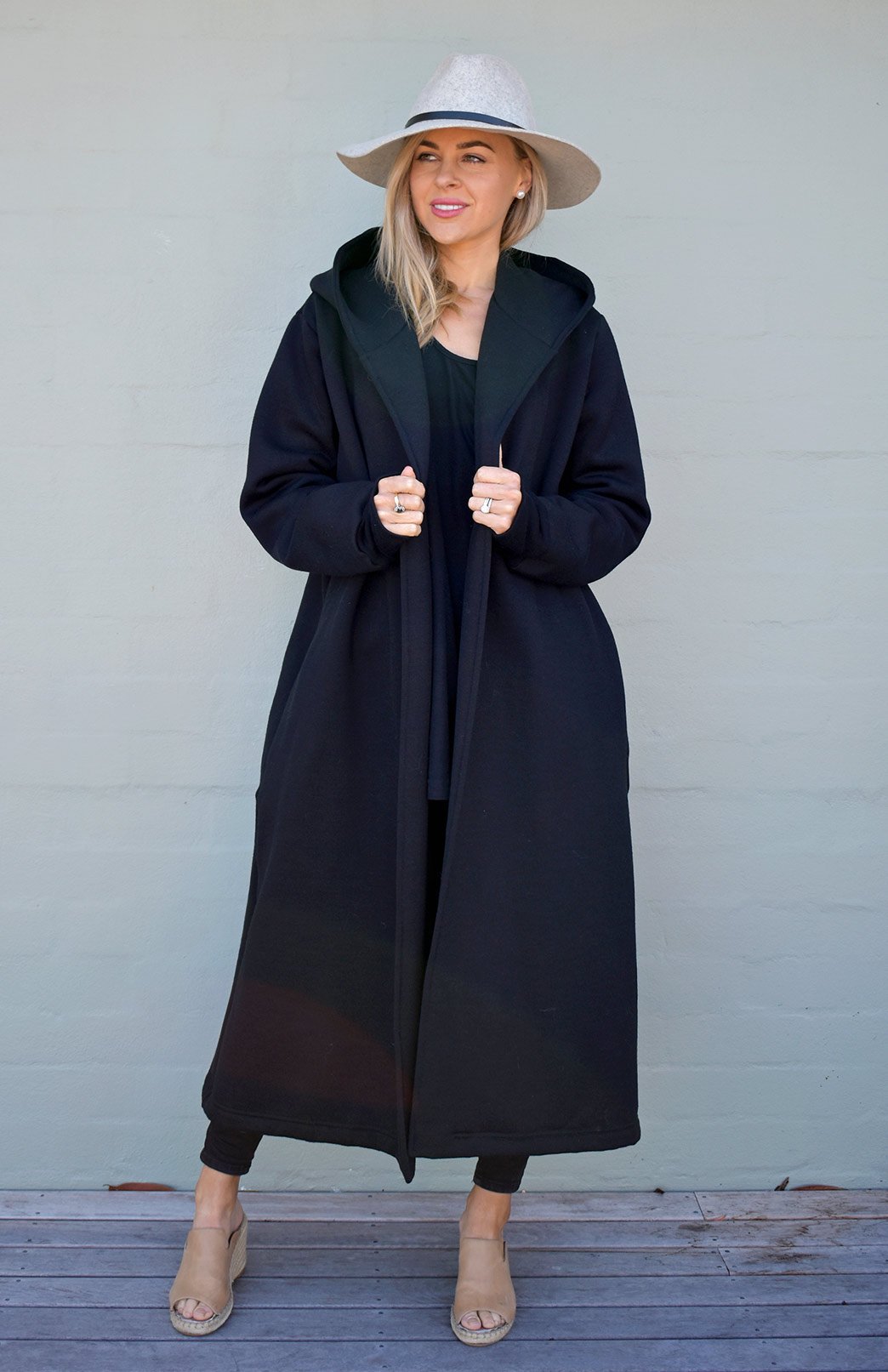 Potter Coat - Women's - Women's Black Pure Merino Wool Winter Coat with Side Pockets, Fleece Lining and Hood - Smitten Merino Tasmania Australia