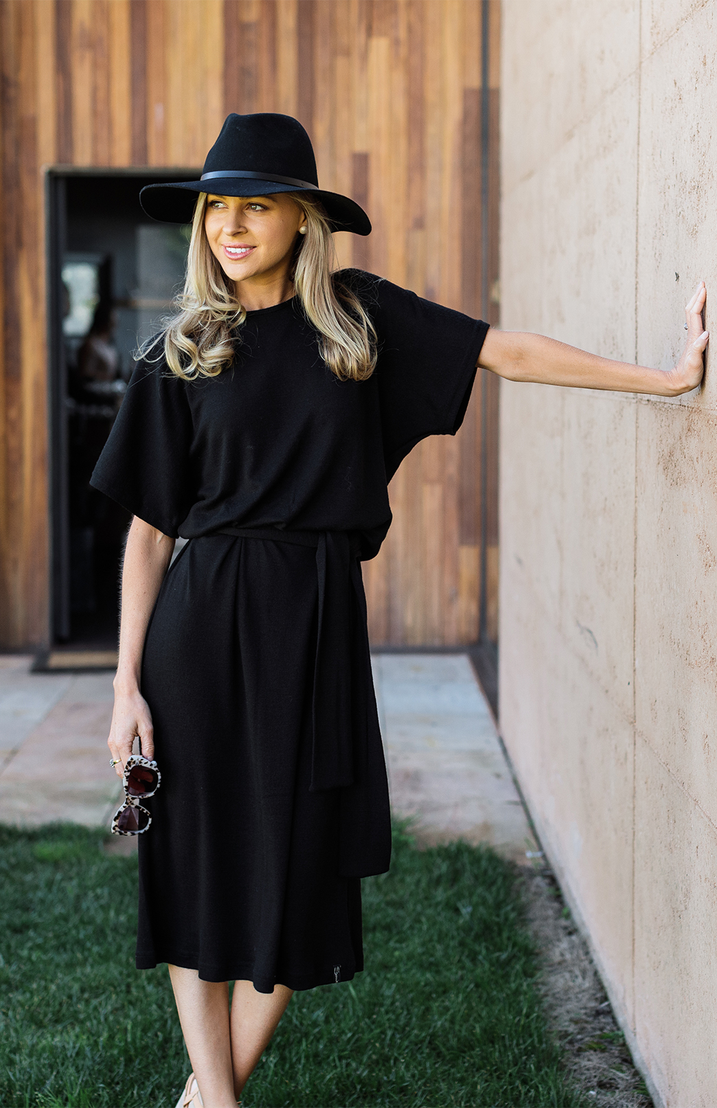 Margo Dress - Women's Knee Length Black Merino Wool Loose T-Shirt Dress with Sleeves and Waist Tie - Smitten Merino Tasmania Australia