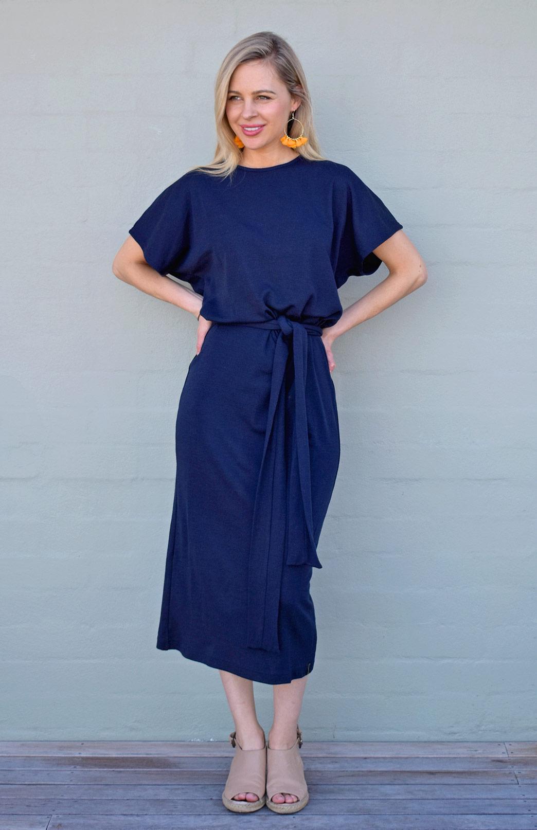 Margo Dress - Women's Knee Length Navy Blue Merino Wool Loose T-Shirt Dress with Sleeves and Waist Tie - Smitten Merino Tasmania Australia