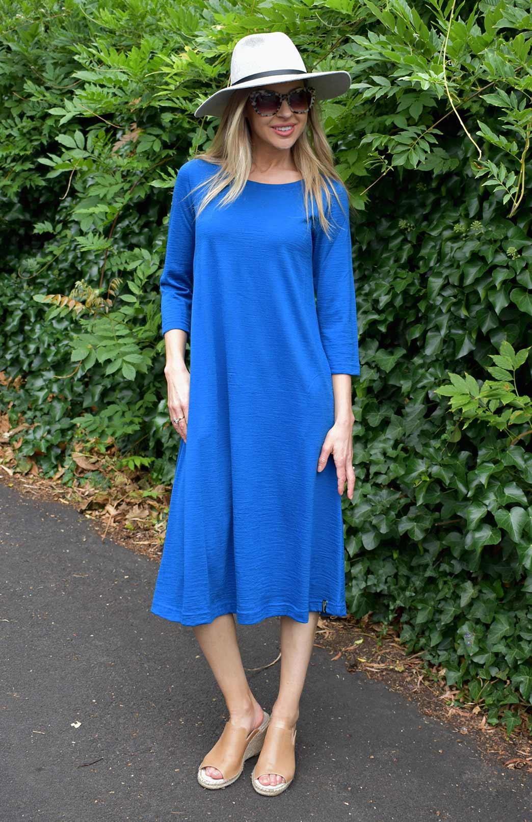 Kelly Dress - Women's Royal Blue Pure Merino Wool A-Line Dress with 3/4 Sleeves and Side Pockets - Smitten Merino Tasmania Australia