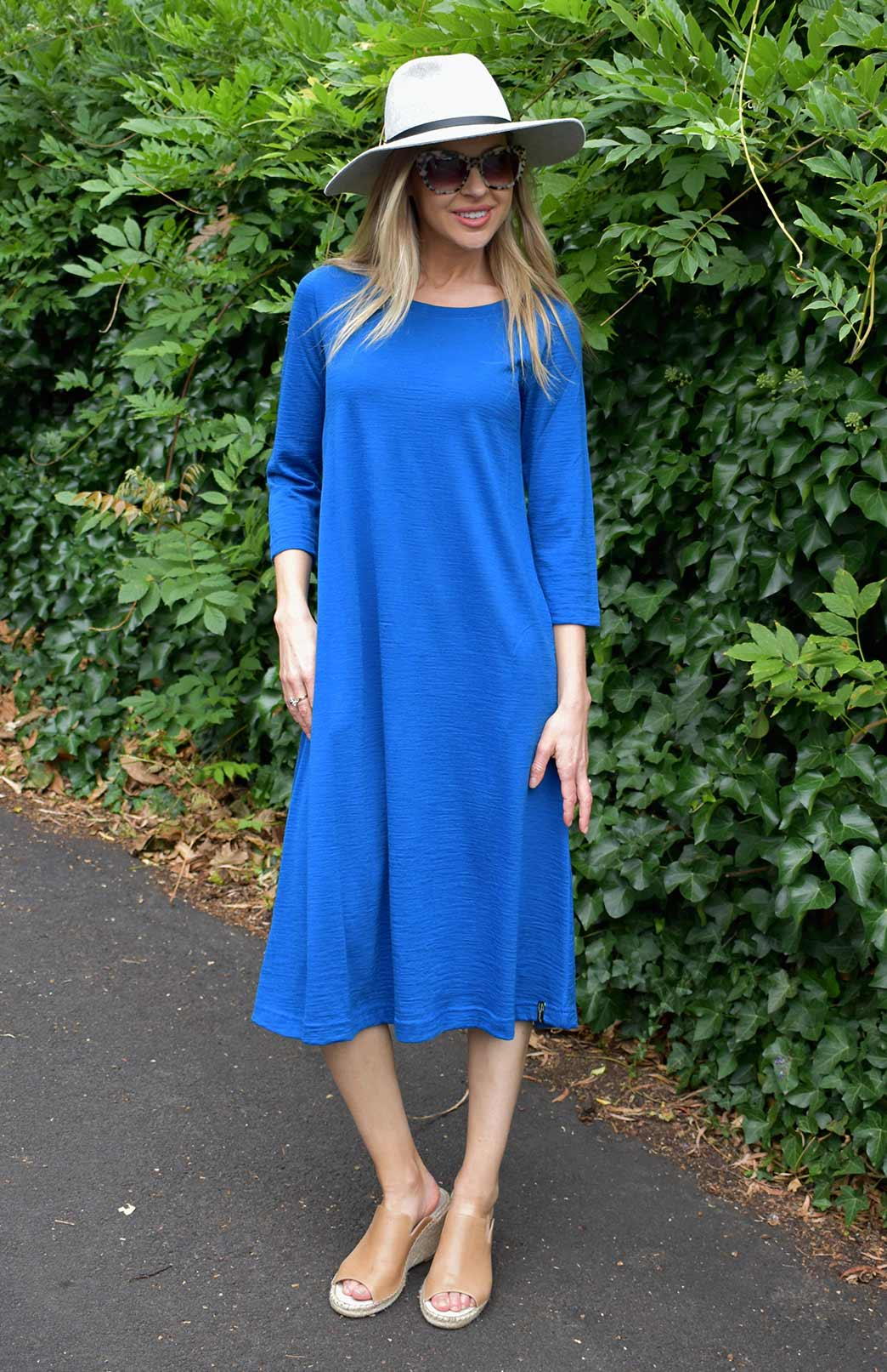 Kelly Dress - Women's Royal Blue Pure Merino Wool A-Line Dress with 3/4 Sleeves and Side Pockets - Smitten Merino Tasmania Australia