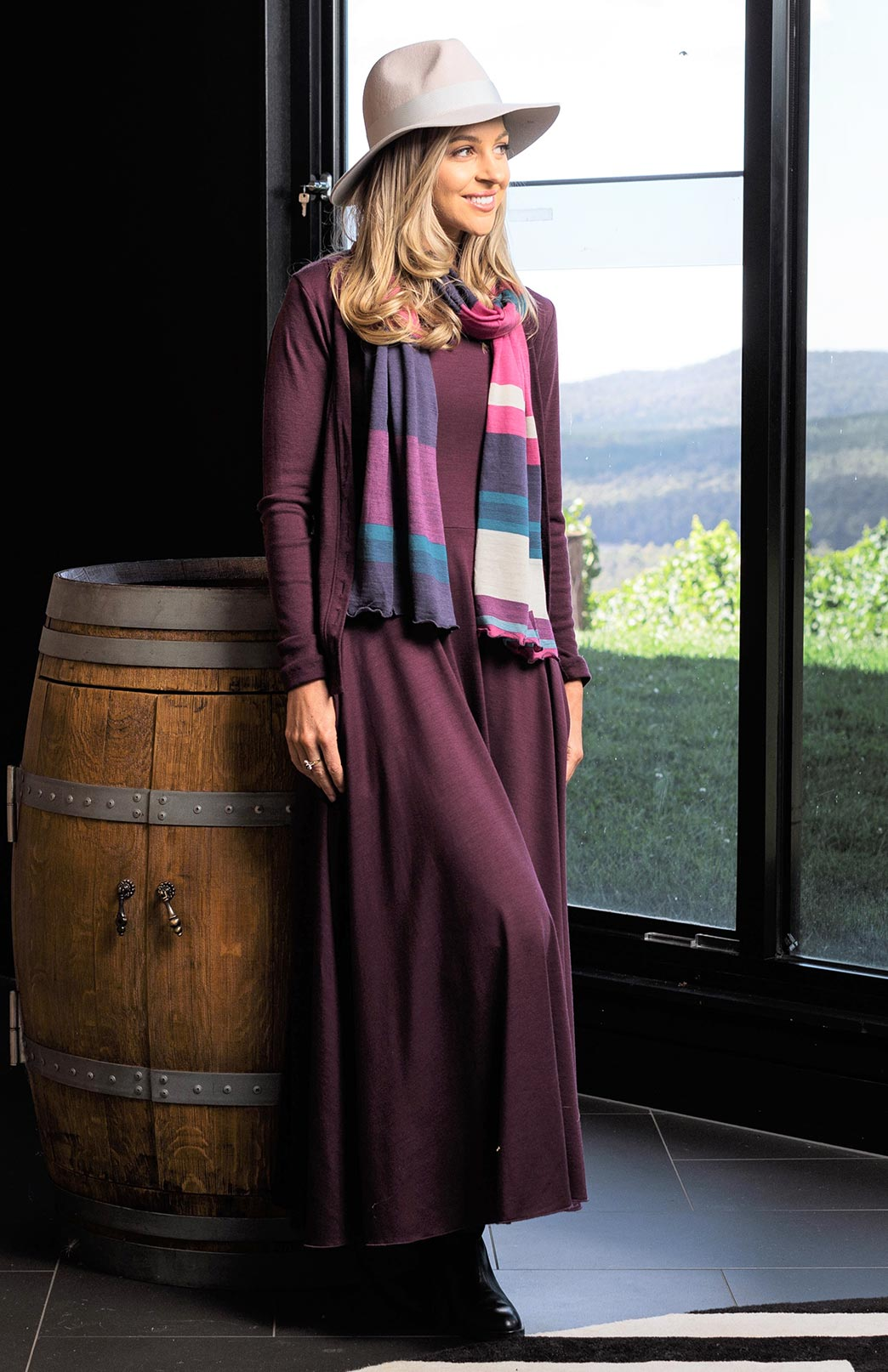 Flo Dress - Women's purple sleeveless merino wool dress with high neckline, side pockets, long skirt and true waist - Smitten Merino Tasmania Australia