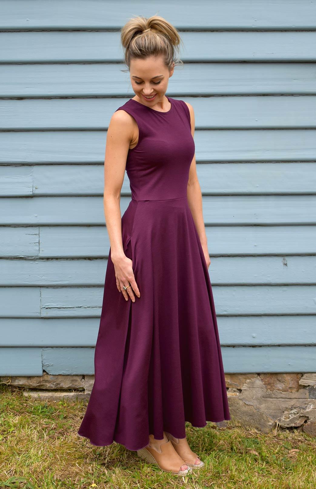Flo Dress - Women's purple sleeveless merino wool dress with high neckline, side pockets, long skirt and true waist - Smitten Merino Tasmania Australia