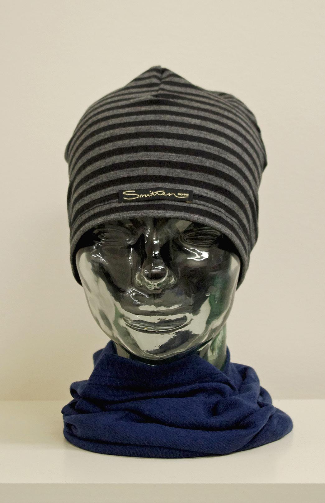 Beanie -- Patterned - Black & Grey Stripe Patterned Merino Wool Unisex Beanie - Smitten Merino Tasmania Australia