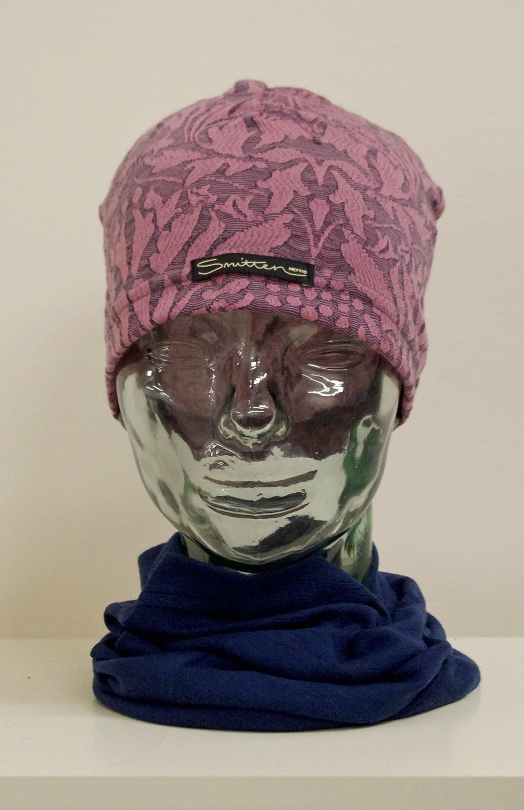 Beanie -- Patterned - Pink Abbey Floral Patterned Merino Wool Unisex Beanie - Smitten Merino Tasmania Australia