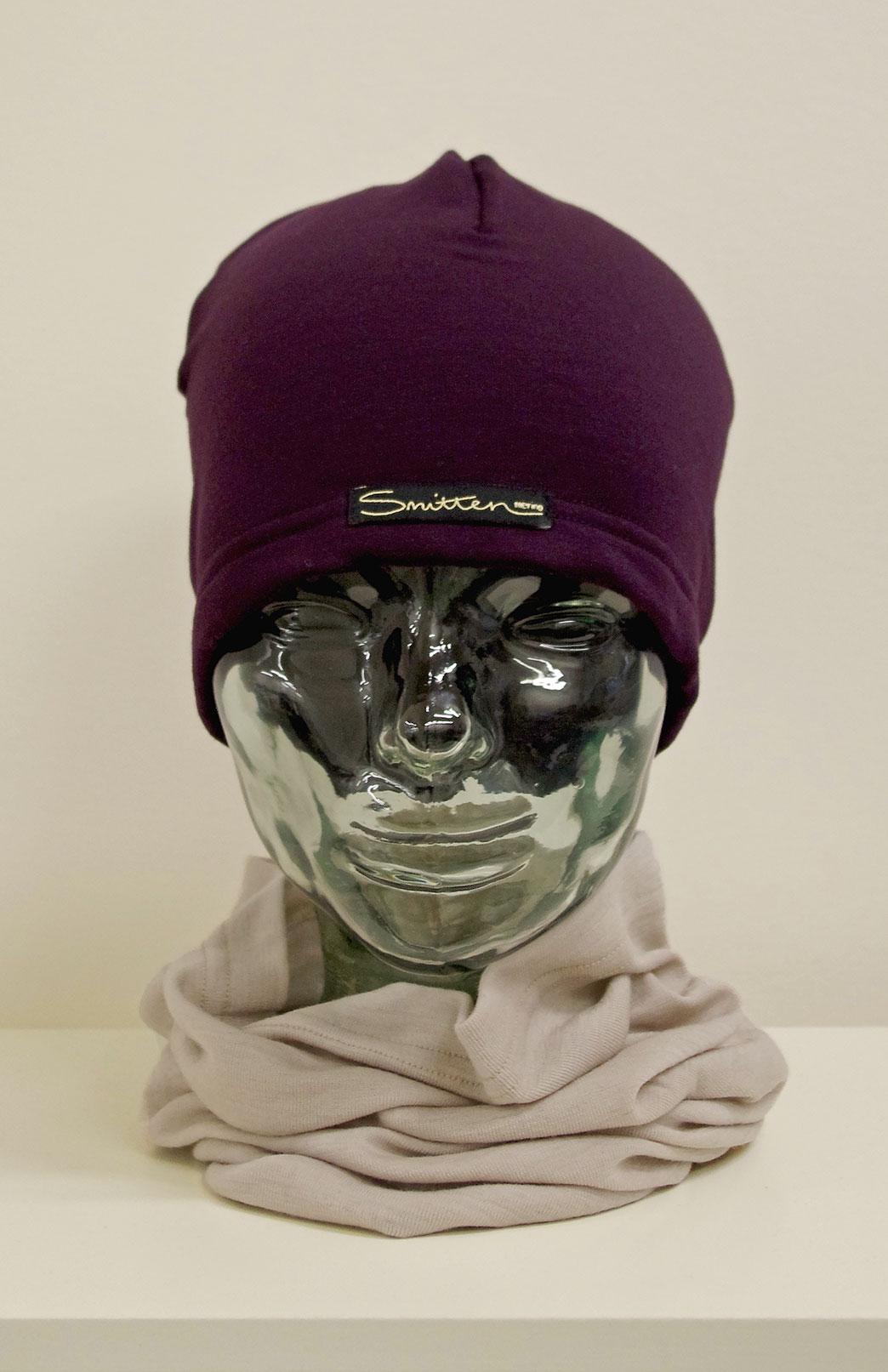 Beanie - Fleece - Unisex Plum Purple Merino Wool Fleece Beanie - Smitten Merino Tasmania Australia