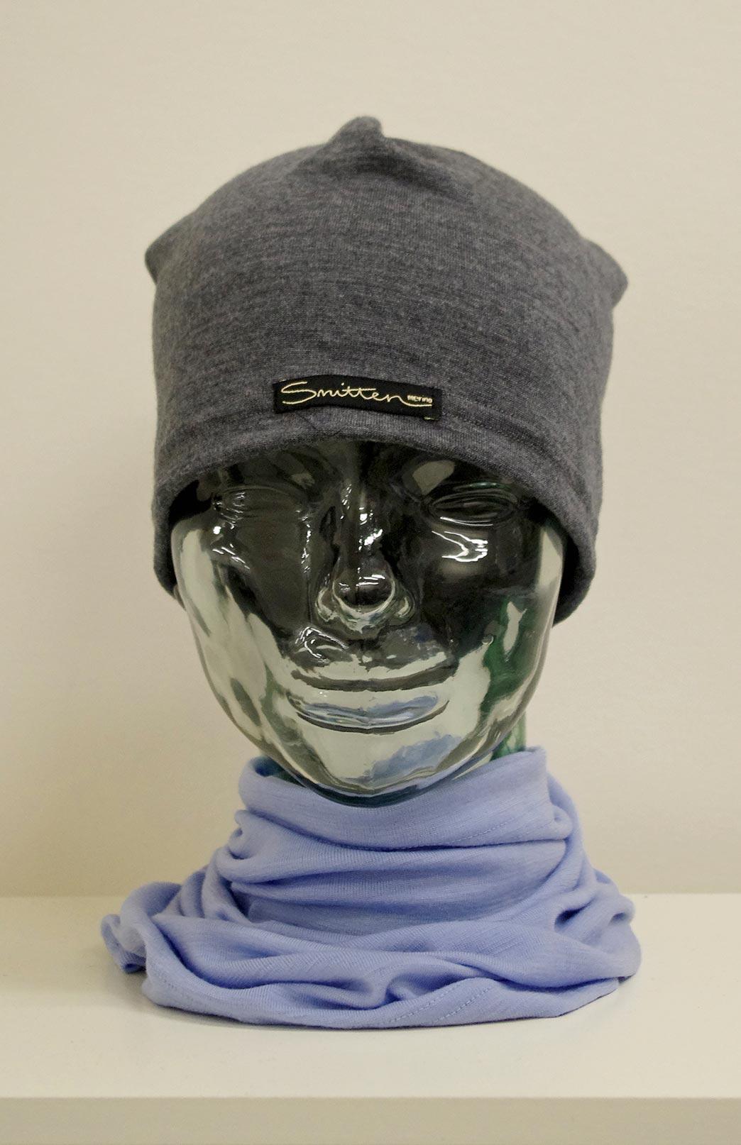 Beanie - Mid-weight Loose Fit Skull Cap - Unisex Grey Marl Merino Wool Loose Fit Beanie Skull Cap - Smitten Merino Tasmania Australia