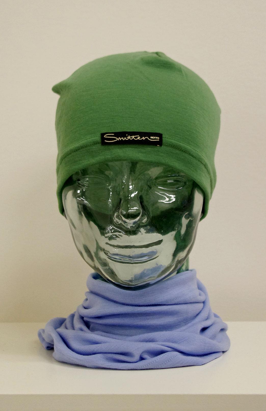 Beanie - Mid-weight Loose Fit Skull Cap - Unisex Green Merino Wool Loose Fit Beanie Skull Cap - Smitten Merino Tasmania Australia
