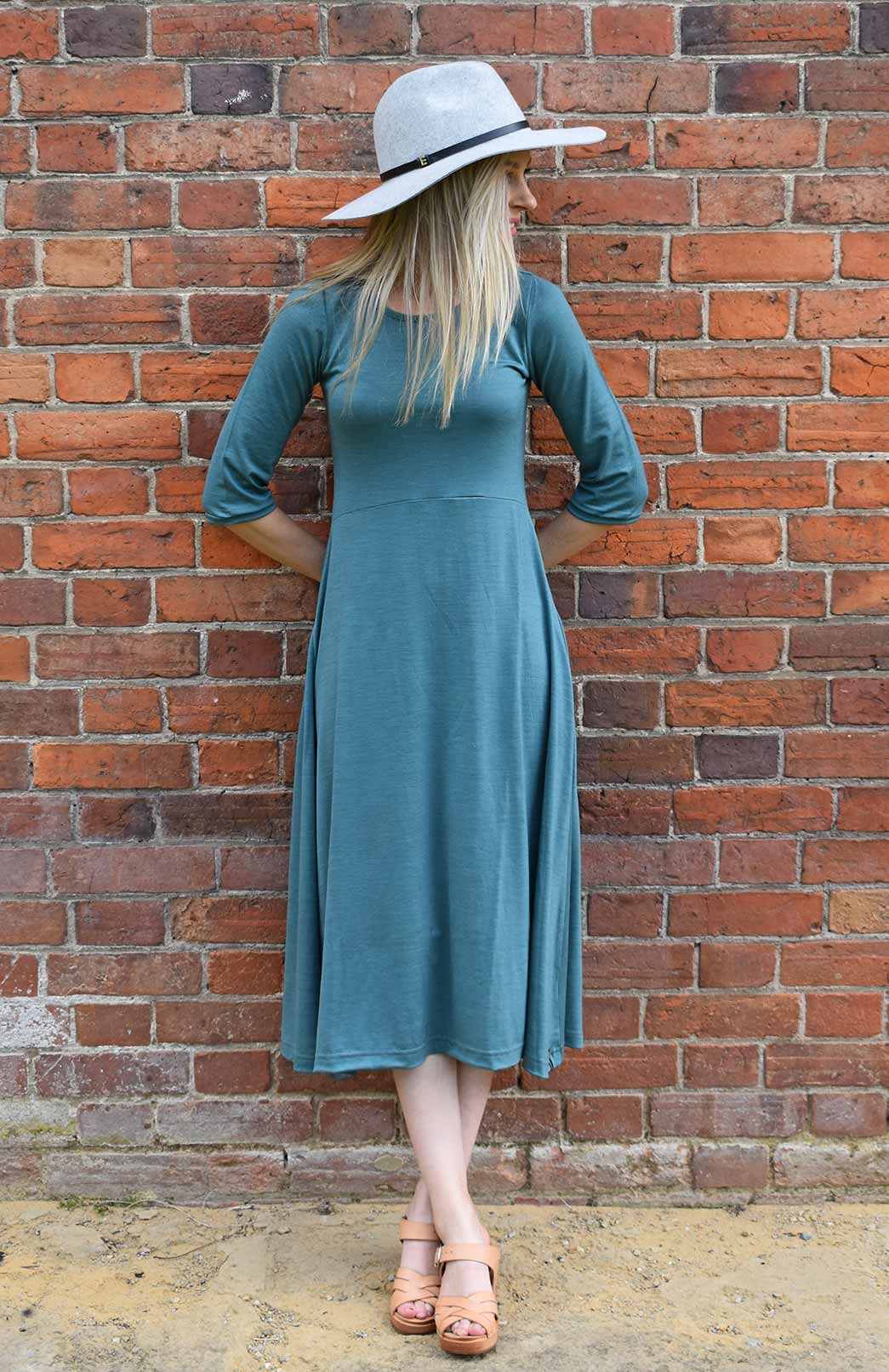 Amelia Dress - Women's Sage Green Merino Wool Dress with Elbow Length Sleeves, High Neckline, Full Skirt and Waist Seam - Smitten Merino Tasmania Australia