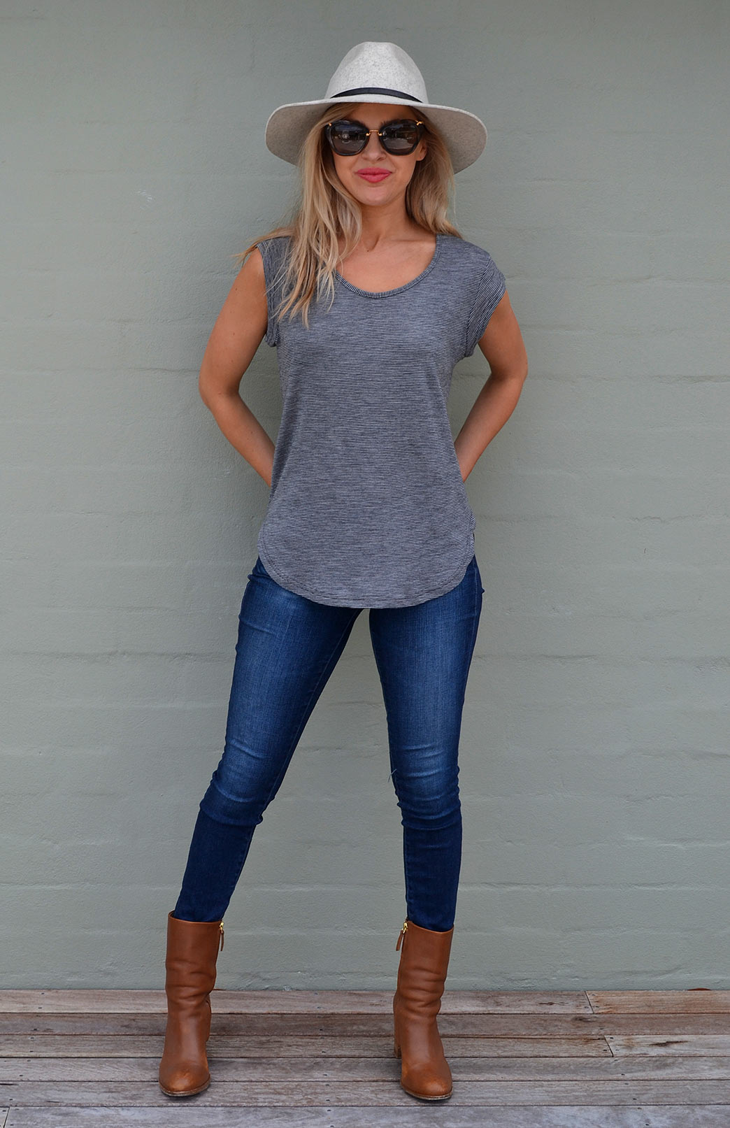 Cap Sleeve T-Shirt - Women's Cap Sleeve Wool Spring Summer Top - Smitten Merino Tasmania Australia