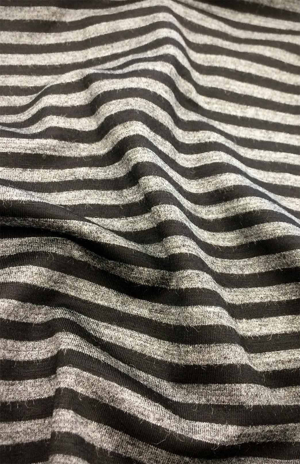 Maxi Skirt - Patterned - Women's Black and Grey Striped Merino Wool Blend Maxi Skirt with Wide Waistband - Smitten Merino Tasmania Australia