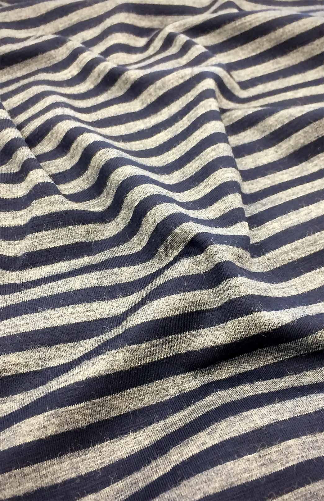 Ellie Dress - Women's Blue and Grey Striped A-Line Swing Dress with 3/4 sleeves and Side Pockets - Smitten Merino Tasmania Australia