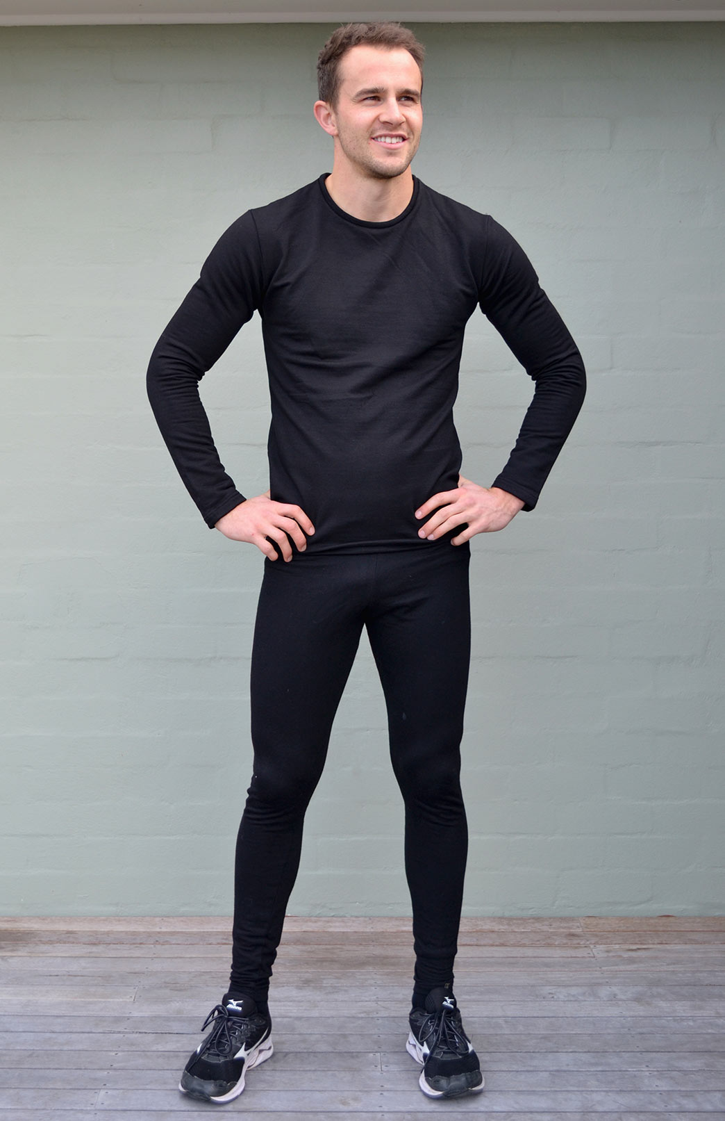 Leggings - 210g - Mens Black midweight Superfine Merino Wool Thermal Leggings - Smitten Merino Tasmania Australia