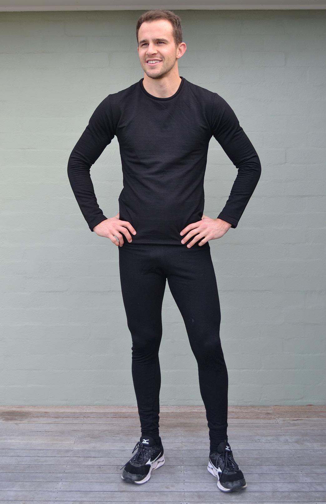 Fleece Leggings - Men's Plain Black Merino Modal Blend Thermal Fleece Leggings - Smitten Merino Tasmania Australia