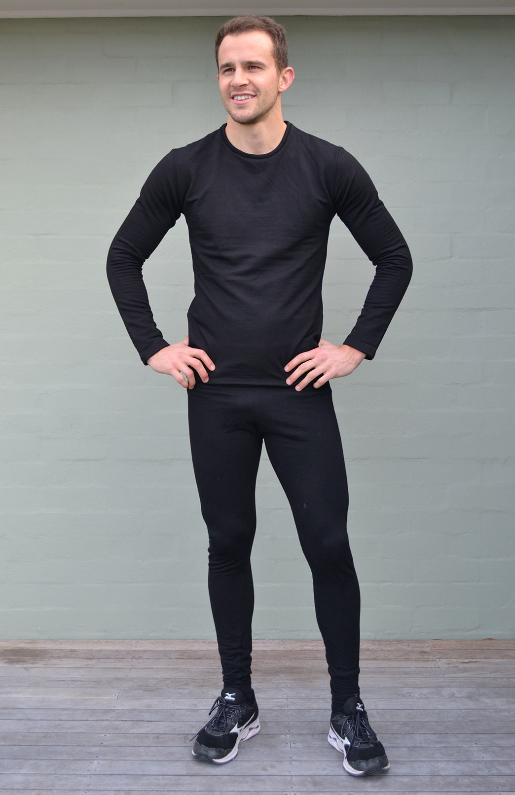 Fleece Leggings - Men's Plain Black Merino Modal Blend Thermal Fleece Leggings - Smitten Merino Tasmania Australia