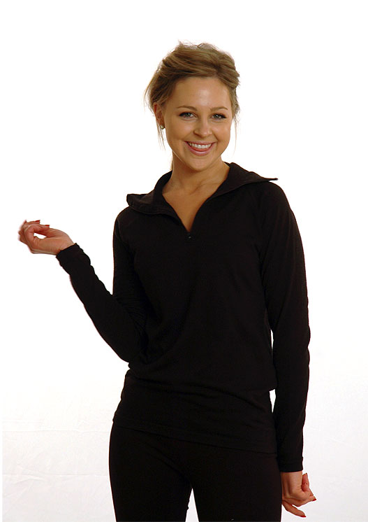 Women's Fleece Zip Neck Top - Long Sleeve 270g Fleece Zip Neck Activewear Top - Smitten Merino Tasmania Australia