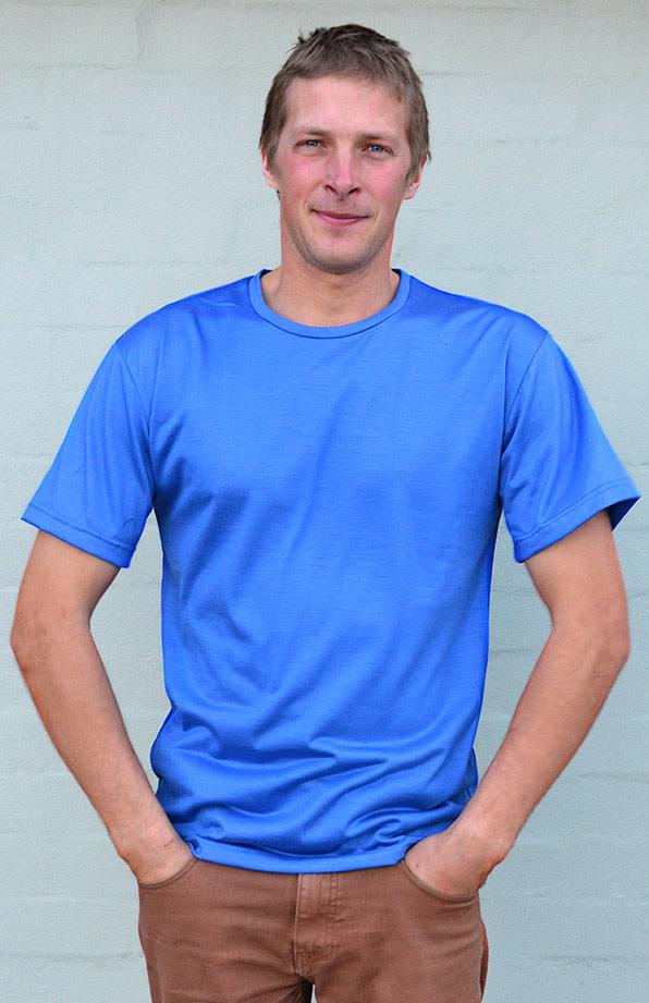 Short Sleeved Crew Neck Top - Lightweight (~170g) - Men's Bright Blue Pure Merino Wool Lightweight Short Sleeved Thermal Top with Crew Neckline - Smitten Merino Tasmania Australia