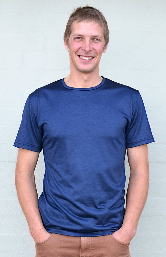 Short Sleeved Crew Neck Top - Lightweight (~170g) - Men's Indigo Blue Pure Merino Wool Lightweight Short Sleeved Thermal Top with Crew Neckline - Smitten Merino Tasmania Australia