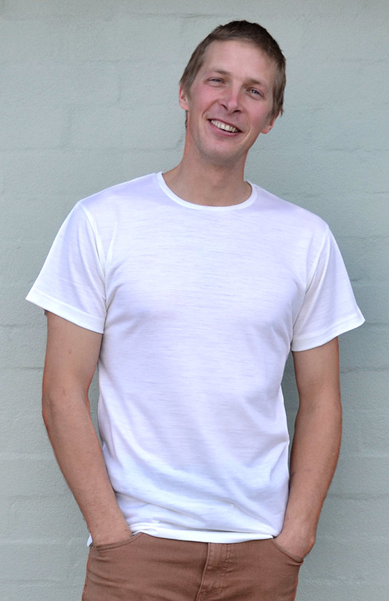 Short Sleeved Crew Neck Top - Lightweight (~170g) - Men's Ivory Pure Merino Wool Lightweight Short Sleeved Thermal Top with Crew Neckline - Smitten Merino Tasmania Australia
