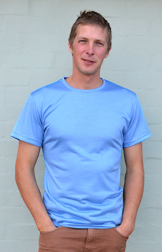 Short Sleeved Crew Neck Top - Lightweight (~170g) - Men's Light Blue Pure Merino Wool Lightweight Short Sleeved Thermal Top with Crew Neckline - Smitten Merino Tasmania Australia